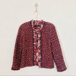Zara Tweed Floral Chiffon Trim Jacket